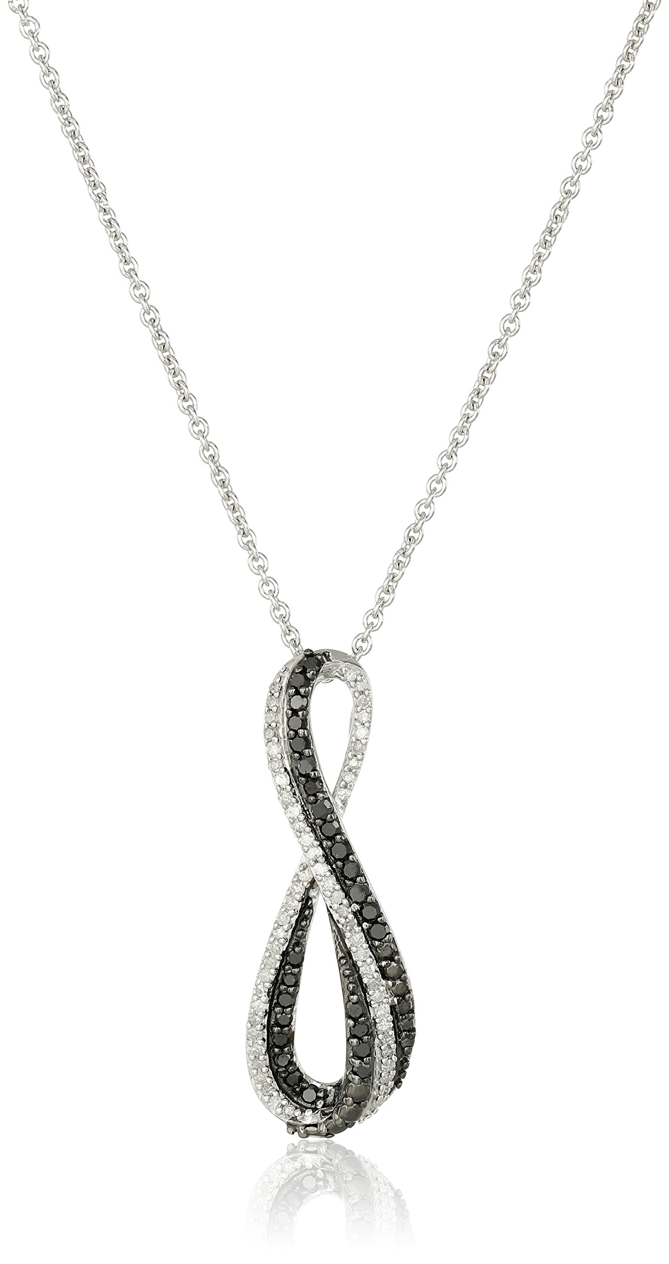 Sterling Silver Black and White Diamond Infinity Pendant Necklace (1/3 cttw), 18''