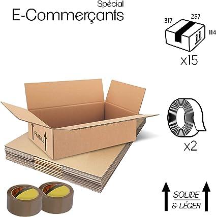 Paquete de 15 cajas de carton – Paquetes de envío para comercio - caja almacenaje alta calidad + 2 cintas adhesivas ofertas (Doble ondulación, 317x237x114): Amazon.es: Oficina y papelería