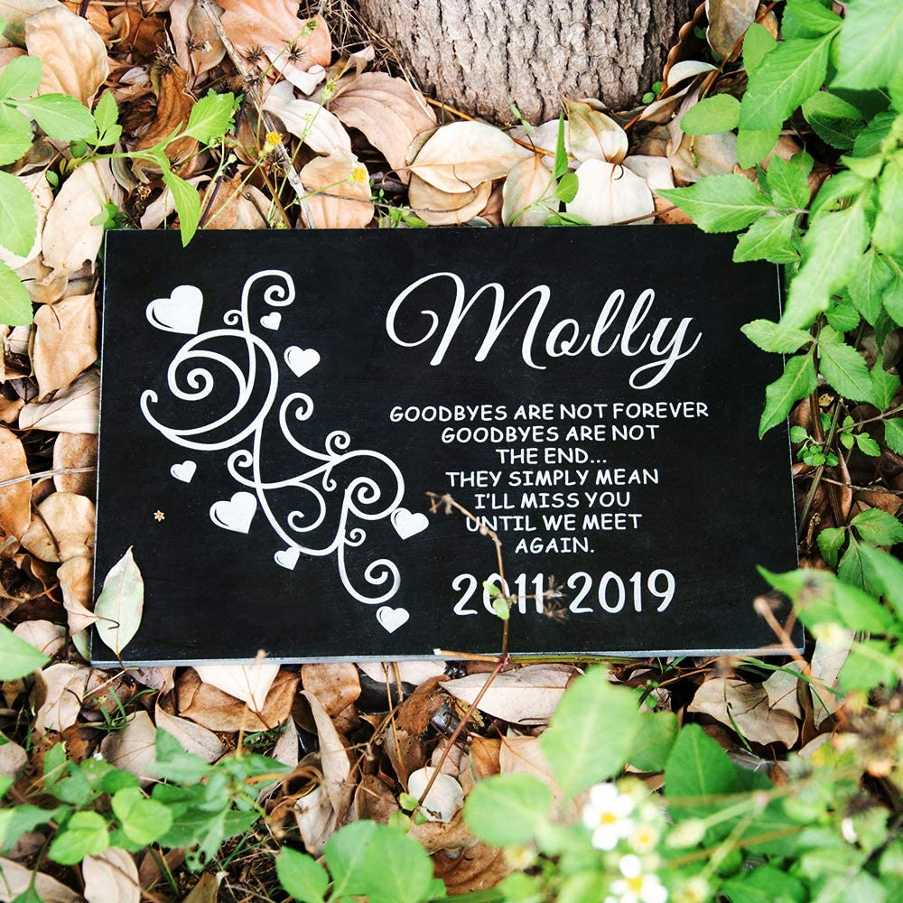"Mooxury Personalized Memorial Headstone for Human,Black Granite Memorial Garden Stone Engraved with Name and Pass Away Date,Sympathy Remembrance Gift Dad Mom Child Memory. (12""x8"")"