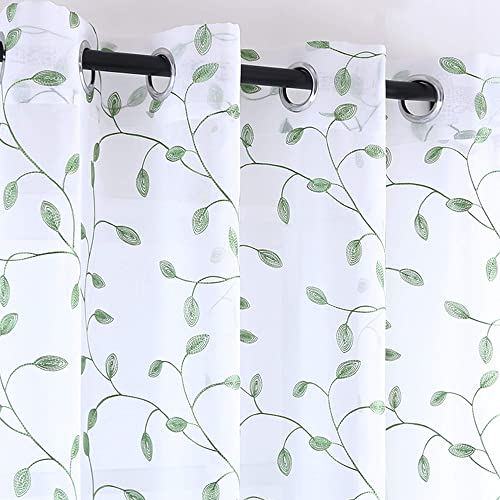 2 Panels Fashion Olive Green Leaves Embroidered Sheer Window Curtain