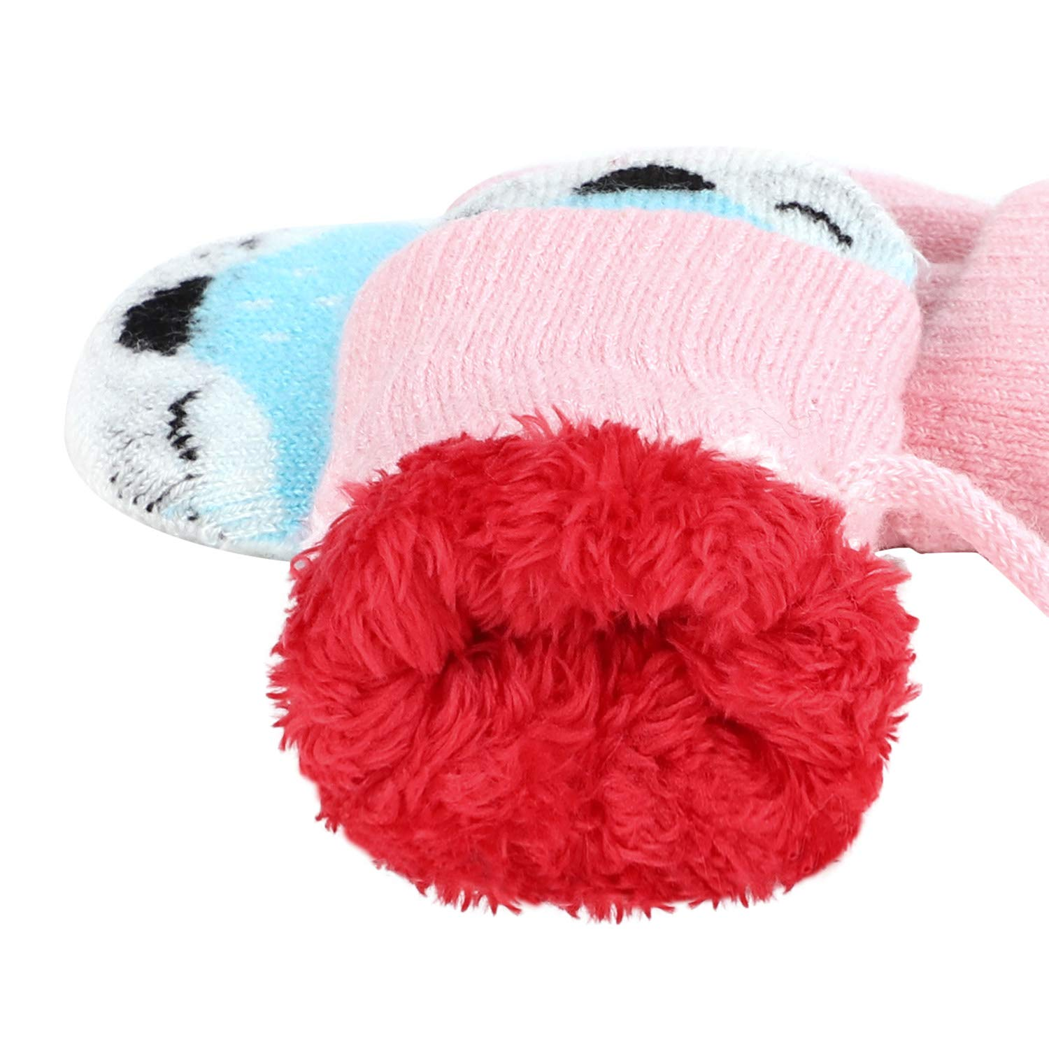 JINTN Boys Girls Cartoon Fox Winter Warm Gloves Knitted Hanging Neck Mitten with Rope Toddler Full Finger Glove Kids Hand Warmer Outdoor Thermal Mitten Children Xmas Gifts for 0-3 Years Old