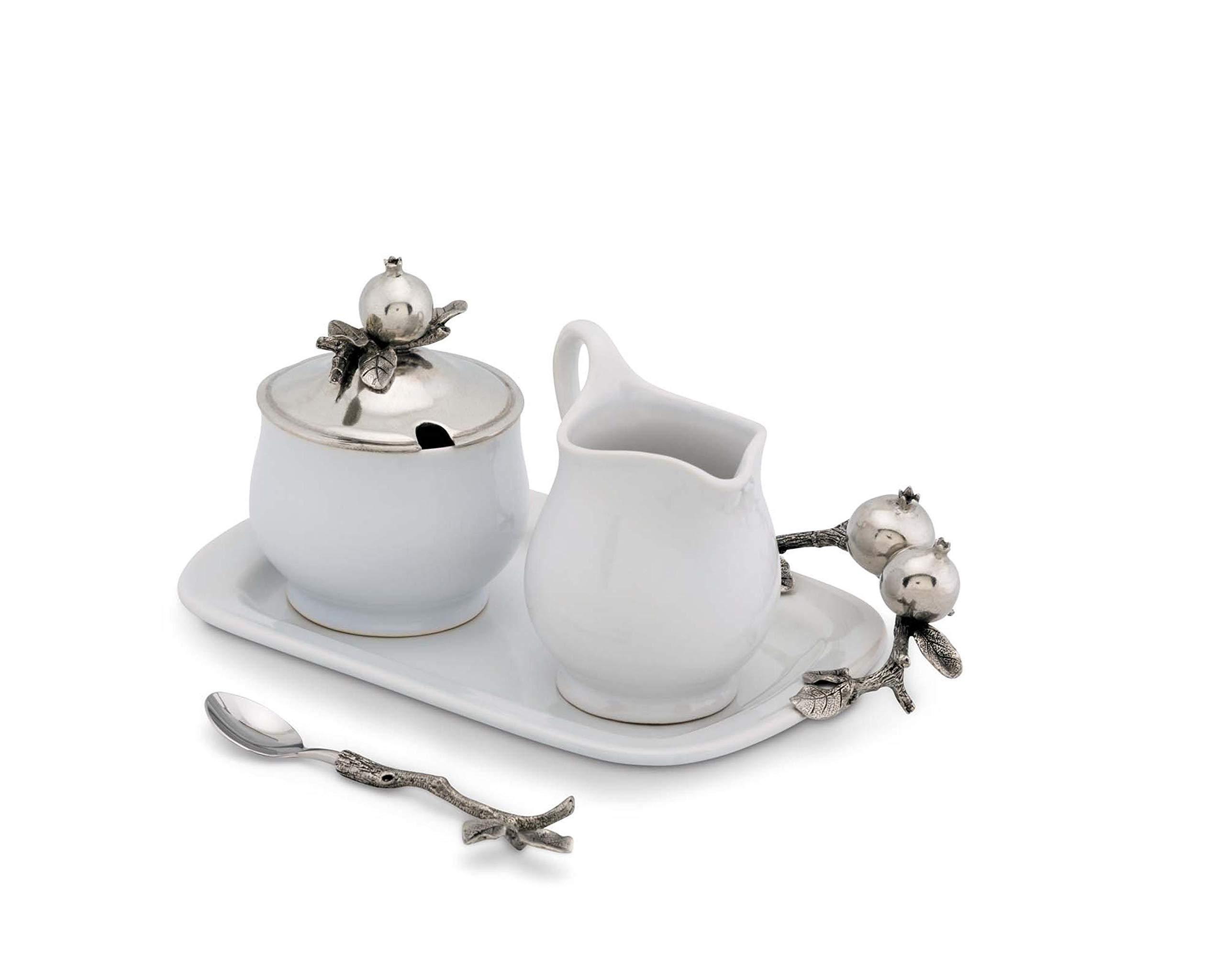 Vagabond House Pewter Pomegranate Stoneware Creamer Set