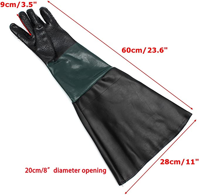 "Jewboer 23.6/"" Rubber Sandblasting Sandblaster Gloves for Sandblast Cabinets"