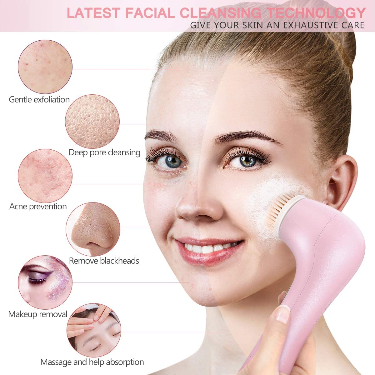 Facial Cleansing Brush, ETEREAUTY Spin Brush for Deep Cleansing Exfoliation, Facial Cleanser Brush for Massaging, Skin Exfoliation (Pink)