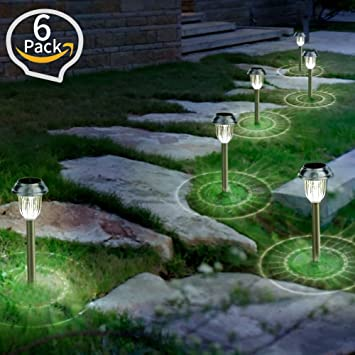 amazon com solar garden lights outdoor landscape pathway lights