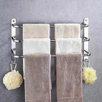 HONPHIER® Handtuchhalter Chrom Handtuchstangen Edelstahl mit Haken  Handtuchstange Bad 60 cm, Handtuchhalter für Badezimmer Küchen Toilette