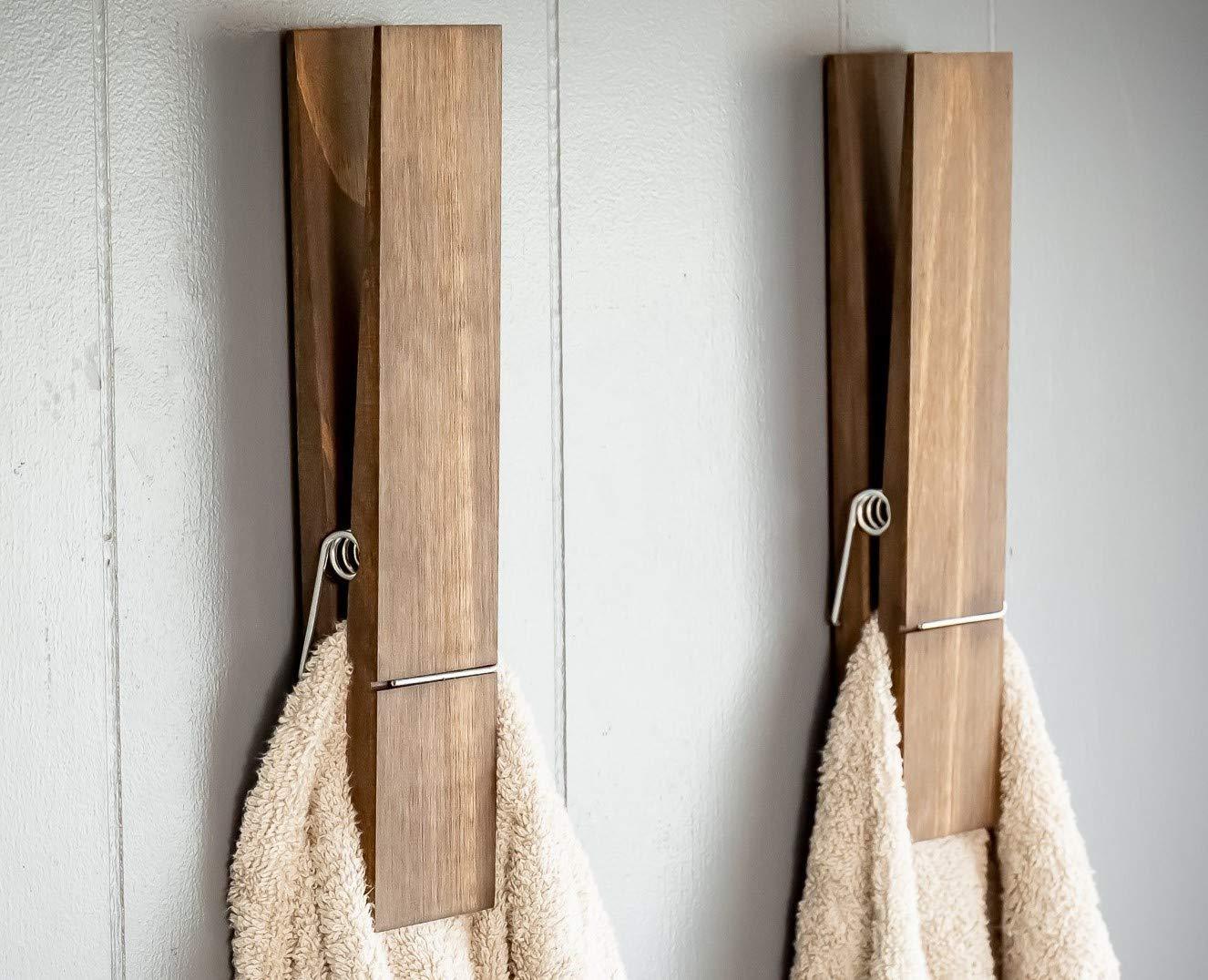 "Jumbo Clothespin Bathroom Towel Holder, 1 Clothespin, Jacobean, 12"" clothespin, farmhouse bathroom decor, laundry room decor, nursery decor, towel hook"