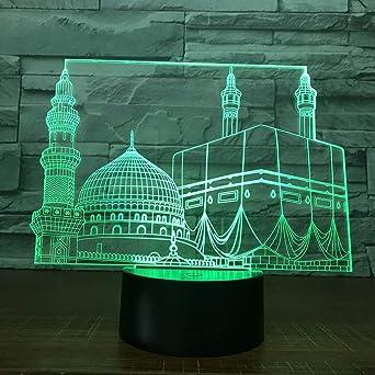 BFMBCHDJ Temple Castle 7 Colorido USB 3D Lámpara Dormitorio ...
