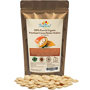 100% Natural Unrefined Raw Cocoa Butter Wafers 8 oz - Non-Deodorized, Organic Fair Trade Cacao Beans - Food Grade, Paleo, Keto Snacks, Vegan, Hair, Skin, DIY Chocolate Bars, Coffee, Smoothie Recipes