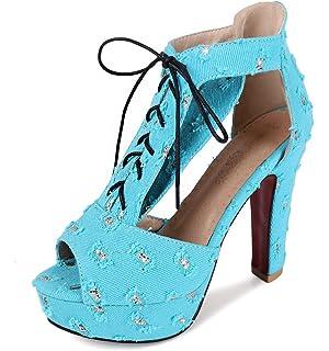 SHOWHOW Damen Paillette Plattform Peep Toe Hollow Out High Heels Sandalen Blau 37 EU