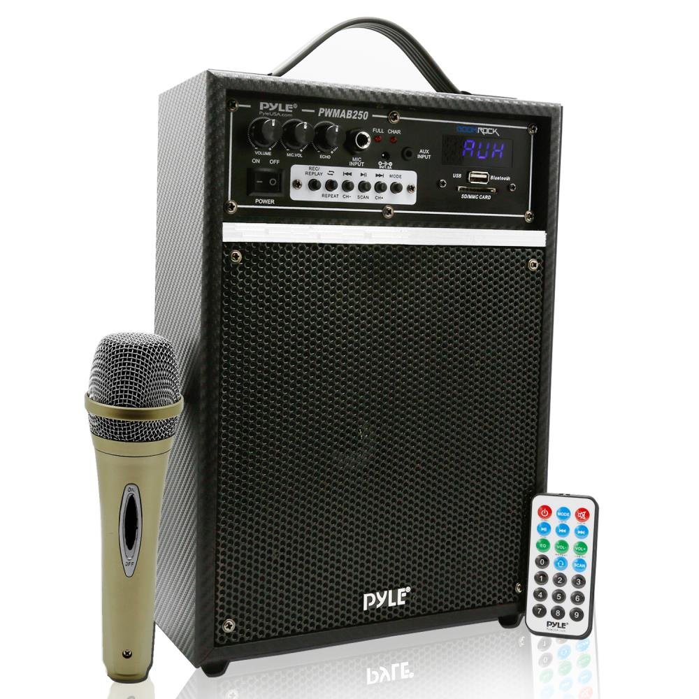 Pyle Pro 300 Watt Outdoor Indoor Wireless Bluetooth Portable PA Speaker 6.5 inch Subwoofer Sound System with USB SD Card Reader, Rechargeable Battery, Wired Microphone, FM Radio, Remote - PWMAB250BK