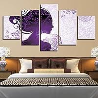 Meaosy Modern Decor Living Room Hd Stampato 5 Pezzi Bella Donna Viola E Dipinti Di Fiori Poster Quadri Modulari Su Tela Wall Art-10X15/20/25Cm