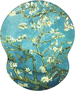 Mouse Pad, Ergonomic Mouse Pad with Gel Wrist Rest Support, Floral Painting Mousepad, Non-Slip Base Durable Gaming Mouse Pads for Computer, Laptop & Mac, Durable & Pain Relief - Van Gogh Painting