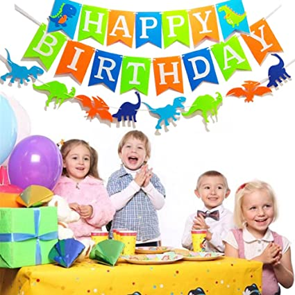 Amazon Dinosaur Happy Birthday Banner Kids Party