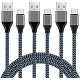 USB Type C ケーブル Xcords 【1M 3本セット】急速充電 高速データ転送 高耐久ナイロン編み galaxy s8/s8 pluss/9/s9 plus/s9+/エクスペリア/Xperia XZ premium/Xperia XZ1/Xperia XZ2/honor8/huawei P20/P20 Pro/new MacBook/多機種対応 (ブラック) …