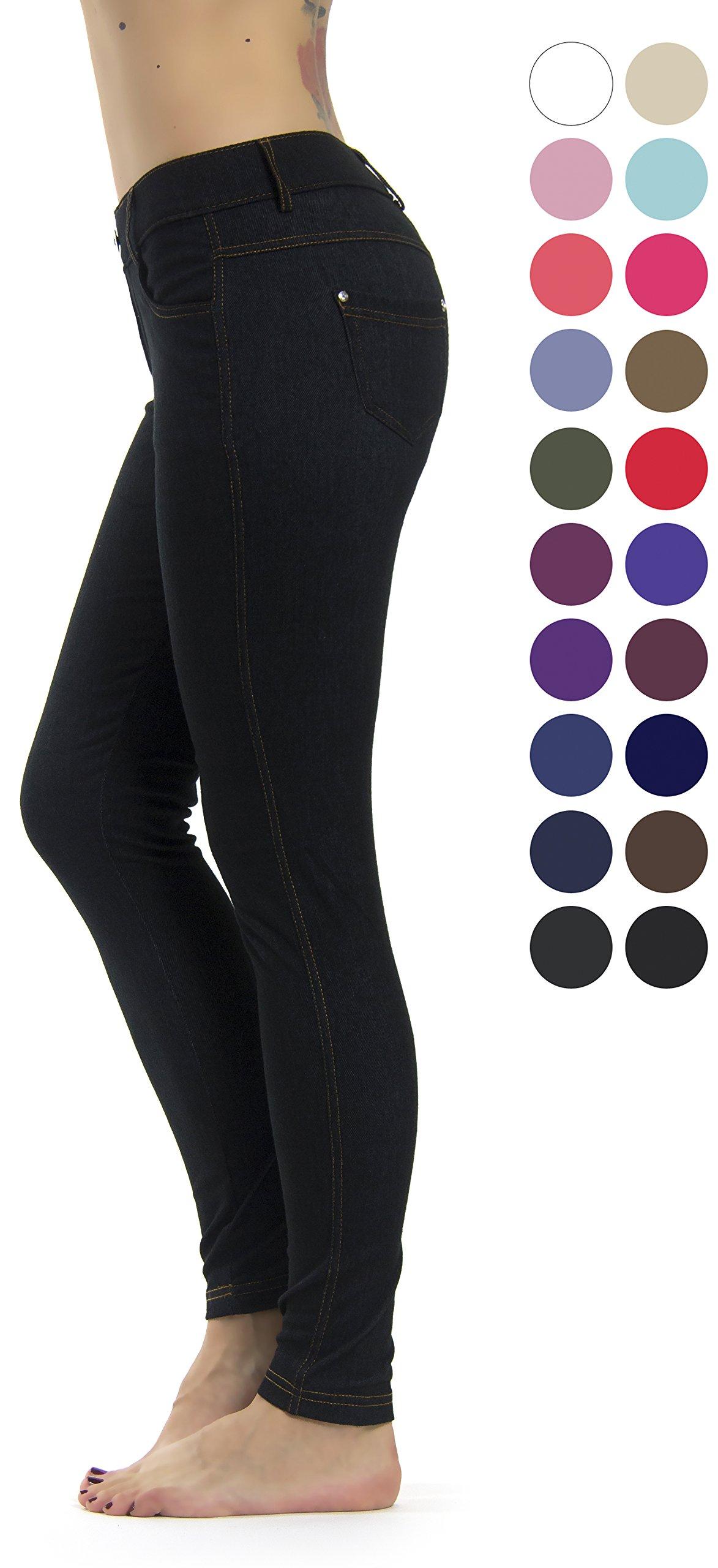 Prolific Health Women's Jean Look Jeggings Tights Slimming Many Colors Spandex Leggings Pants S-XXXL (Large/X-Large, Black Denim)