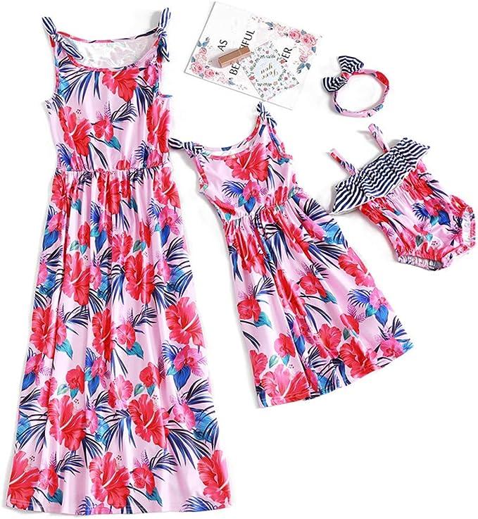 para madre e hija con diadema Yaffi Mommy and Me casual Vestido largo con correa de espagueti con estampado floral para verano