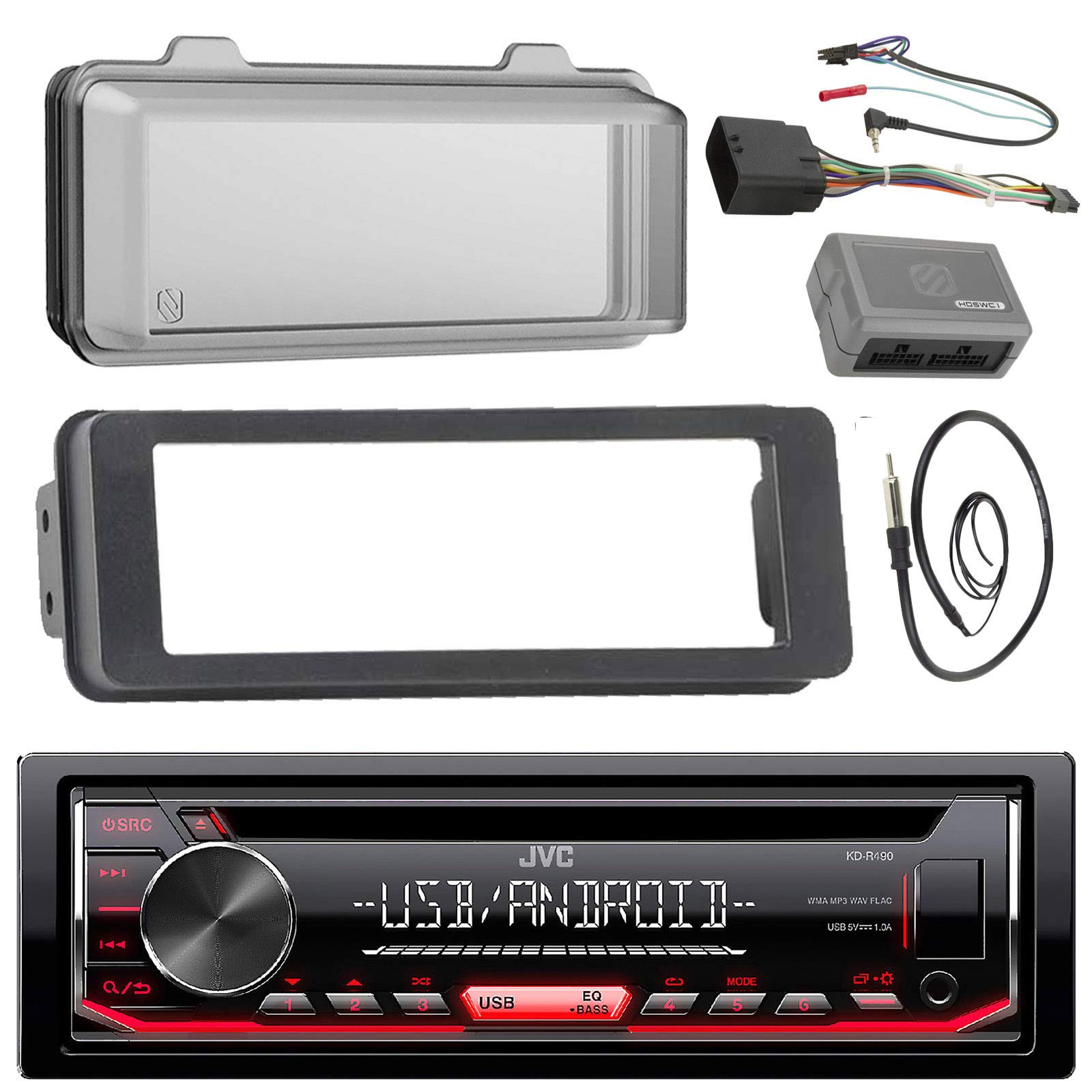 JVC KDR490 Stereo CD Receiver Radio - Bundle with Installation Dash Kit + Handle Bar Control Module + Weathershield Cover + Enrock Wire Antenna for 1998 2013 Harley Touring Motorcycle Bikes