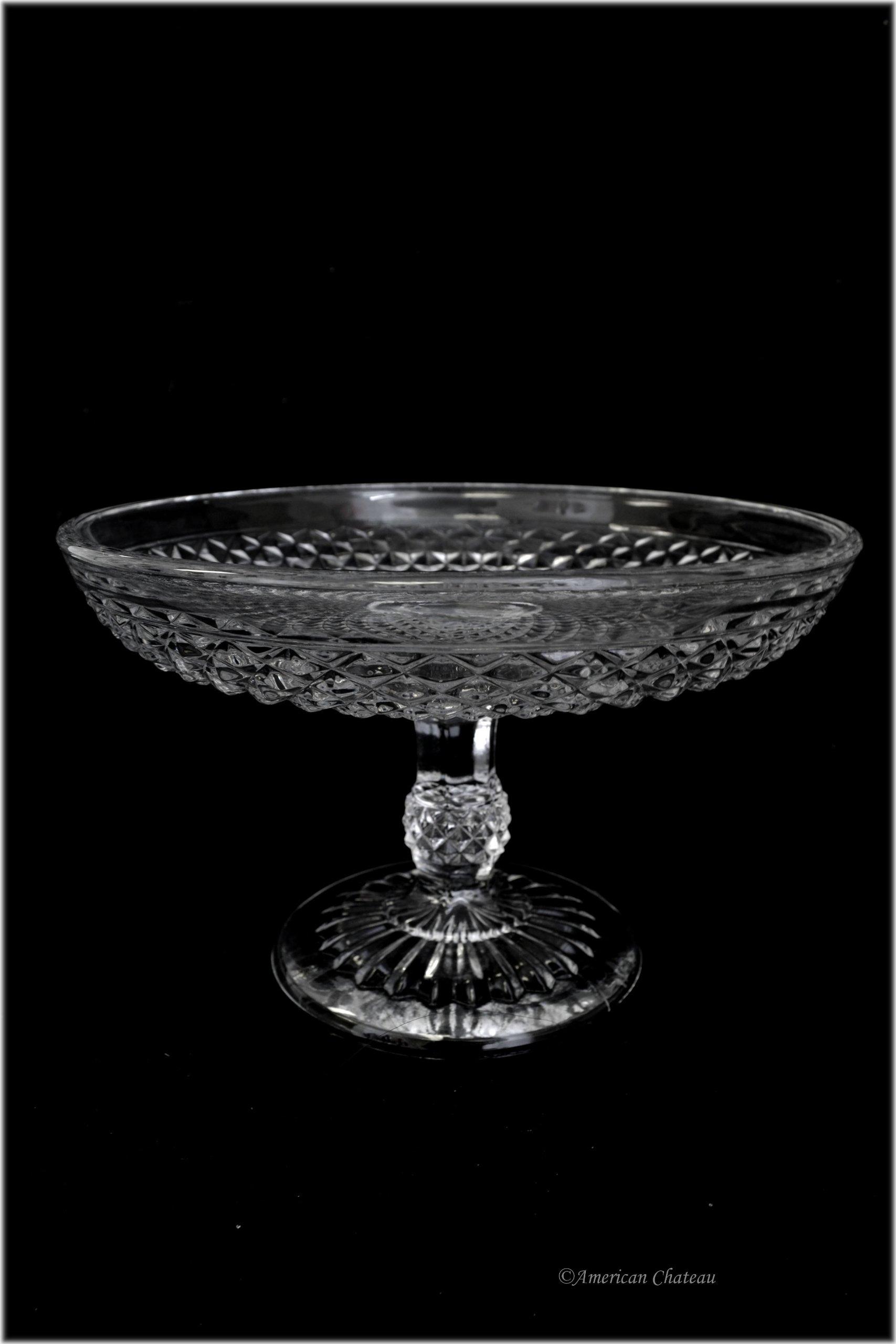 8'' Vintage Depression Style Glass Pedestal Fruit Stand Bowl Centerpiece