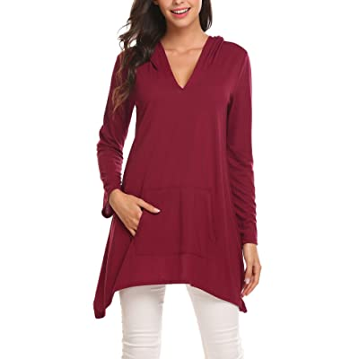4a50087edf1cc Zeagoo Women Casual Asymmetrical Hem Tunics Tops Loose Fit Pullover Hoodie  With Kangaroo Pocket