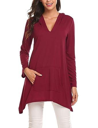 84dbfdb86 Zeagoo Women Casual V Neck Hoodie Kangaroo Pocket Loose Fit Long Sleeve  Blouse Tops Wine Red