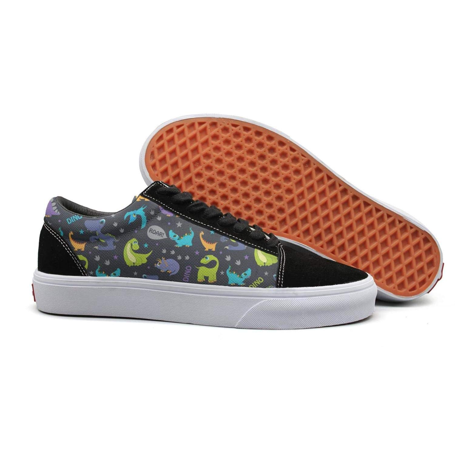 Dinosaurs Roaring Cutest Pattern Lace Up Sneakers Canvas Skate Shoes for Women Lightweight