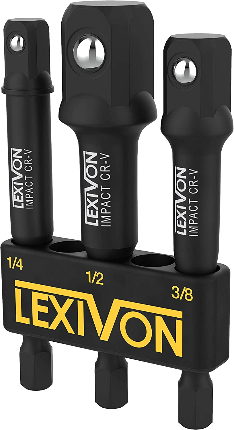 "LEXIVON Impact Grade Socket Adapter Set, 3"" Extension Bit With Holder 