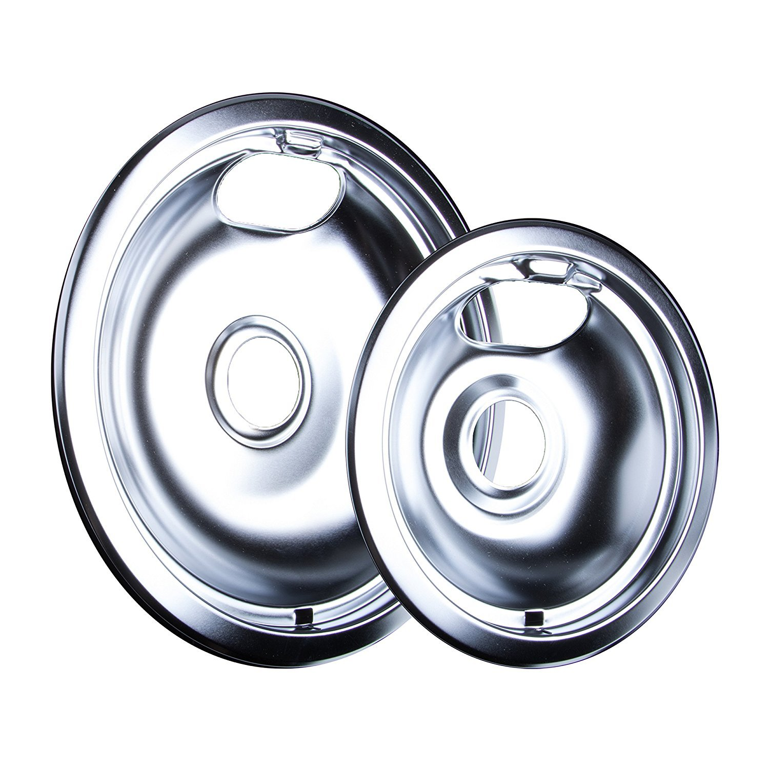 Chrome Drip Pans for Range Kleen 10124XZ Whirlpool W10196405 W10196406 1 Large 8'' 3 Small 6''