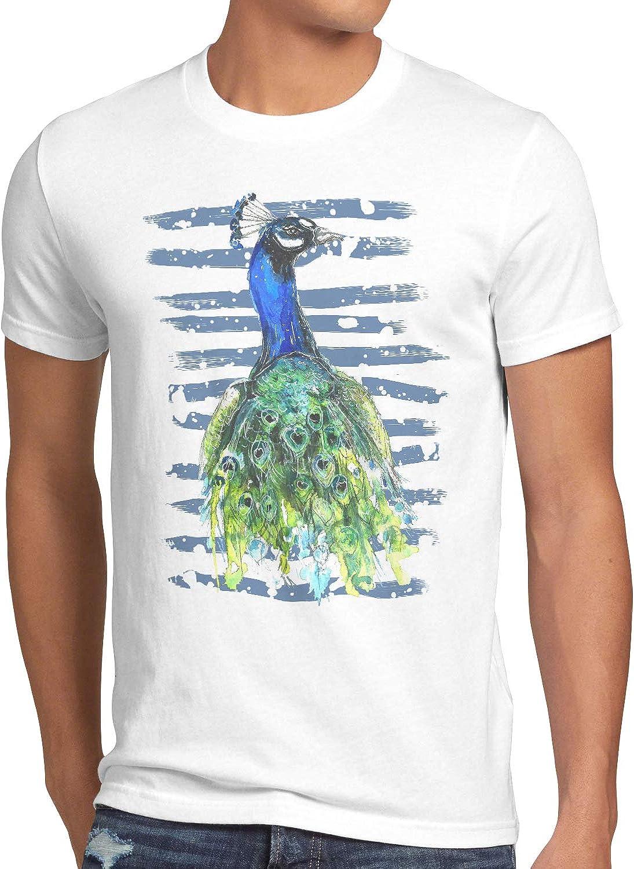 style3 Pavo Cristatus Camiseta para Hombre T-Shirt Corona Aves Selva Tropical