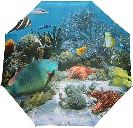 New Arrival Coral Reef And Tropical Fish Auto-Foldable Umbrella Rain Umbrella