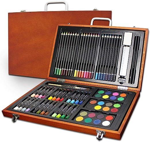 Tedeco - 79 Piezas Juego de dibujo de arte, Diseño vintage Estuche de herramienta de artista - Acuarela, Pintura acrílica, Pintura, Con estuche de madera, Tamaño: 37,5 x 26,5 x 4,5 cm: Amazon.es: Hogar