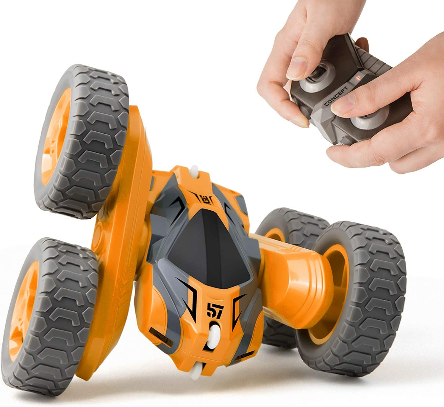 Tecnock Remote Control Car for Kids,360 ° Rotating Double Sided Flip RC Stunt Car,2.4Ghz 4WD Toy Car with Rechargeable Battery for 45 Min Play,Great Gifts for Boys and Girls(Orange): Toys & Games