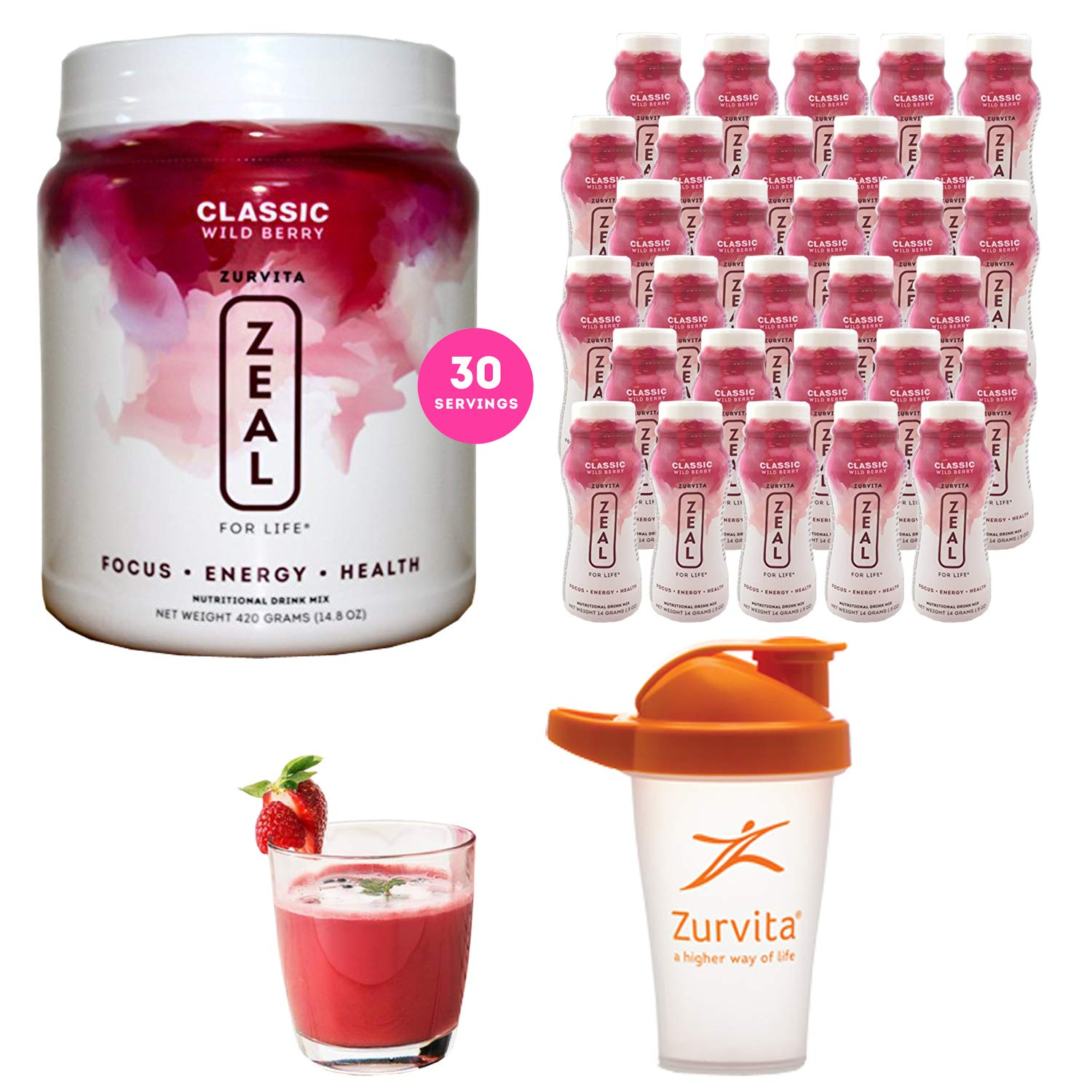 Zeal for life – Complete Nutritional Drink Mix – 1 Canister 30 Individual Bottles – 2 Month Supply Plus A Free Gift of Blender Shaker Bottle – Multi Shipments May Apply Wild Berry – Classic