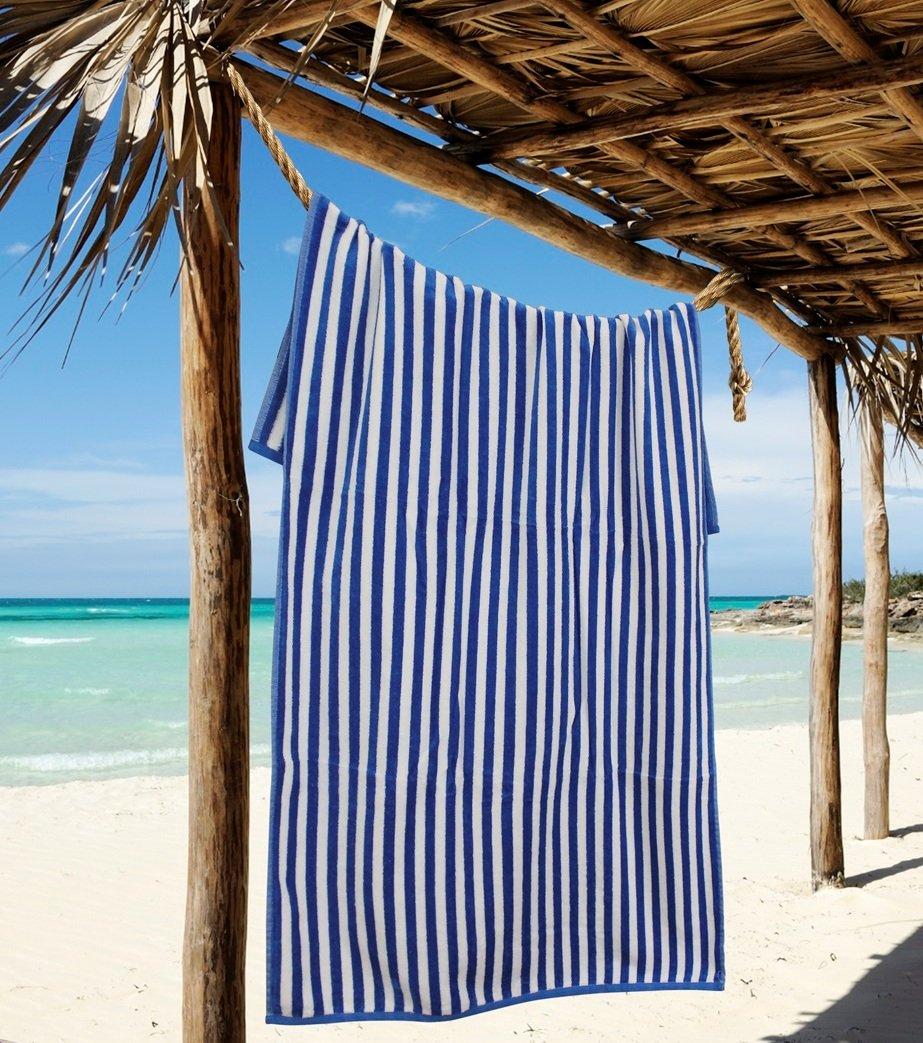 Northpoint Sleep Master Jacqaurd Velour Hotel Cabana Stripe Beach Towel, 30 by 60'', Dark Blue