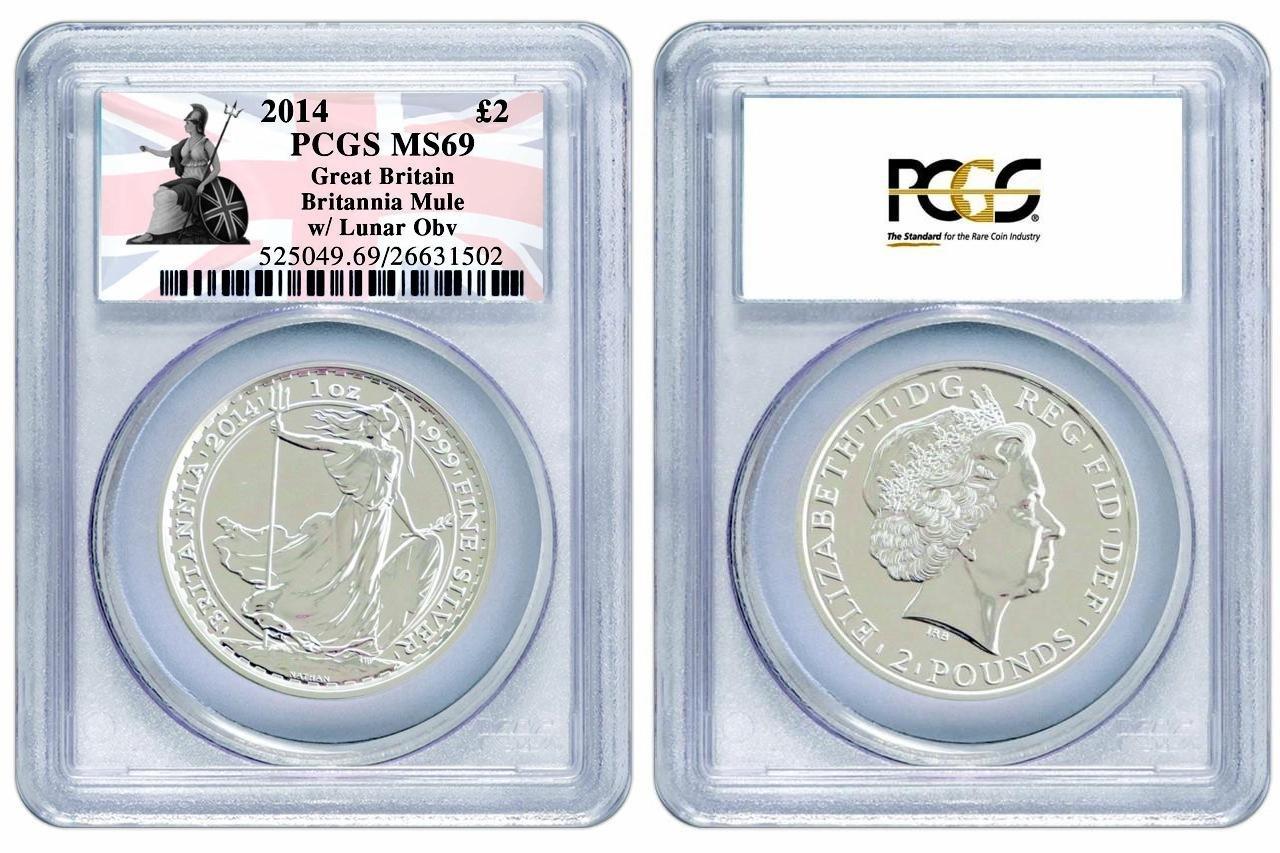 2014 Royal Mint Britannia Lunar Mule Error £2 Two Pound Silver 1oz Coin PCGS MS69