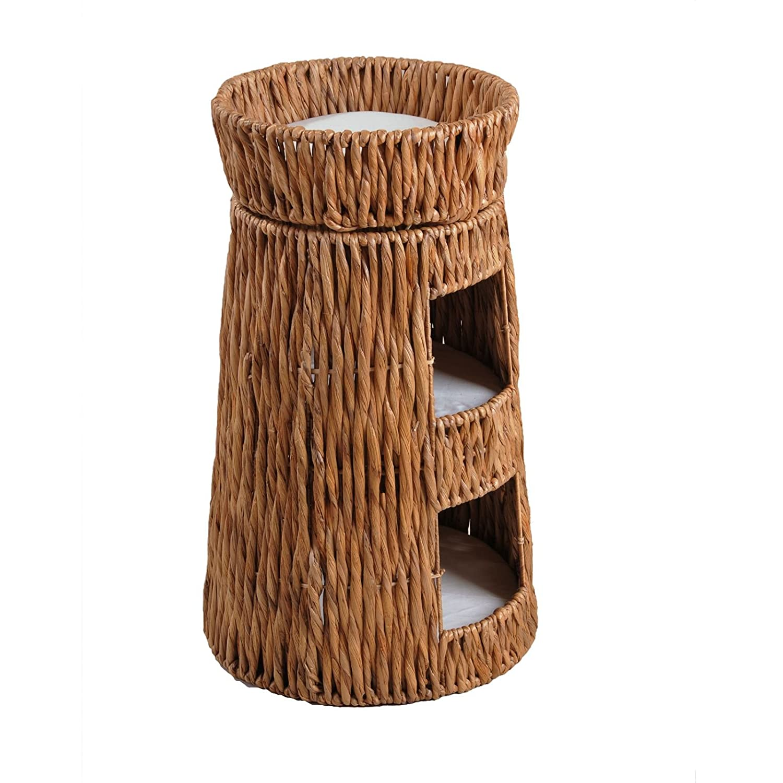 Silvio Design Katzenkorb, Katzenbett, Katzenhöhle, Katzendoppelturm aus gedrehter Wasserhyazinthe groß, Maße: ca. 53 x 53 x 84 cm