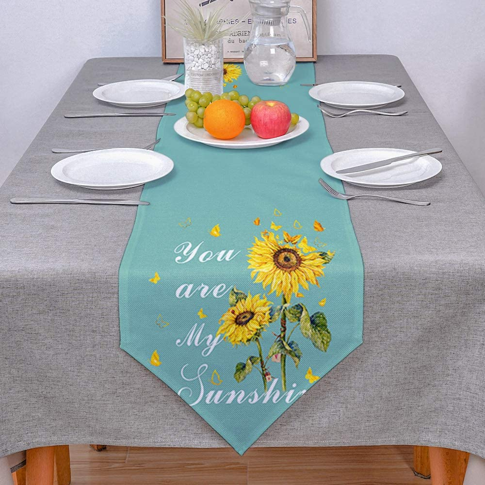 COLORSUM Linen Burlap Table Runner Dresser Scarves Rustic Sunflower Butterfly You are My Sunshine Emerald Home Dining Table Decor Table Runner Mat for Farmhouse, Wedding, Party, BBC-13 x 120 Inch
