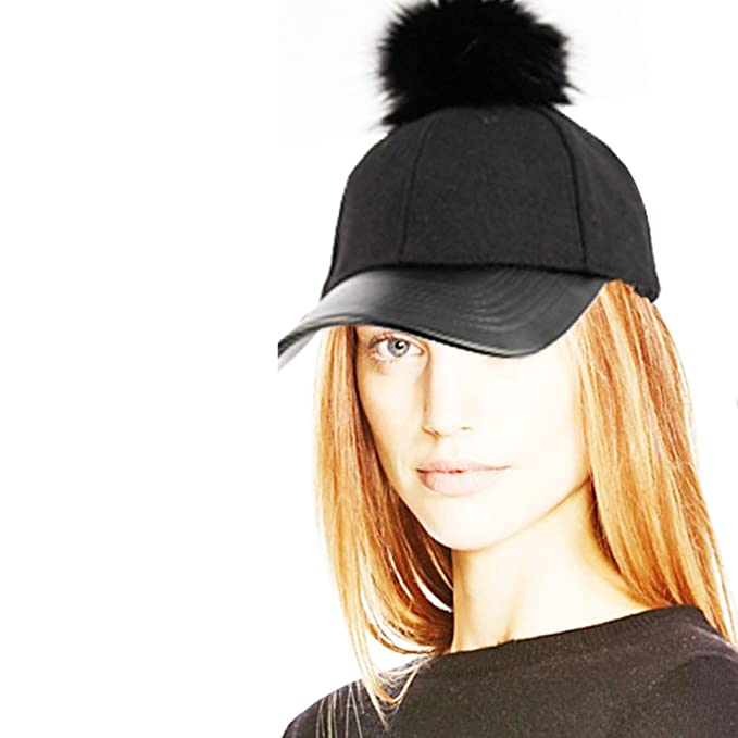 1ad0eddb2e Image Unavailable. Image not available for. Color  Women s Faux Fur Pom Pom  Baseball Cap