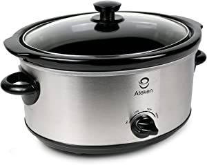 Ateken Slow Cooker 5 Quart Manual Portable Dishwasher Safe Stainless Steel Silver