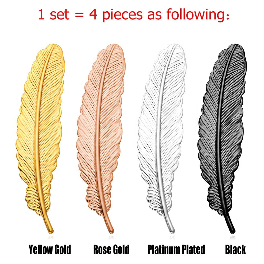 U7 Lady & Gentlemen Suit Brooches Set 18K Stamp Gold Tone Feather Leaf Brooch Pin, 4 Pieces Set Fashion Accessories