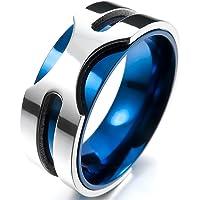 [テメゴ ジュエリー]TEMEGO Jewelry メンズステンレススチールリング、8ミリメートルコンフォートフィットラウンドバンド、ブルーシルバー[インポート]