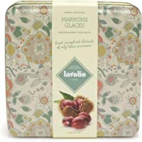 Lavolio Marrons Glaces - Italian Caramelised Chestnuts in Gift Tin - 230g - Nine giant Montemarano chestnuts of only Italian provenance. (Flowery)