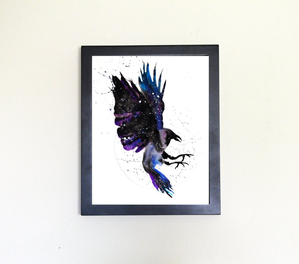 Raven / Crow Spirit Animal Art Print from Watercolor Painting
