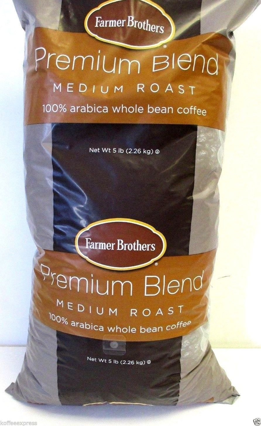 Farmer Brothers Premium Blend 100% Arabica Whole Bean Coffee (1 bag/5 lbs) by Farmer Brothers