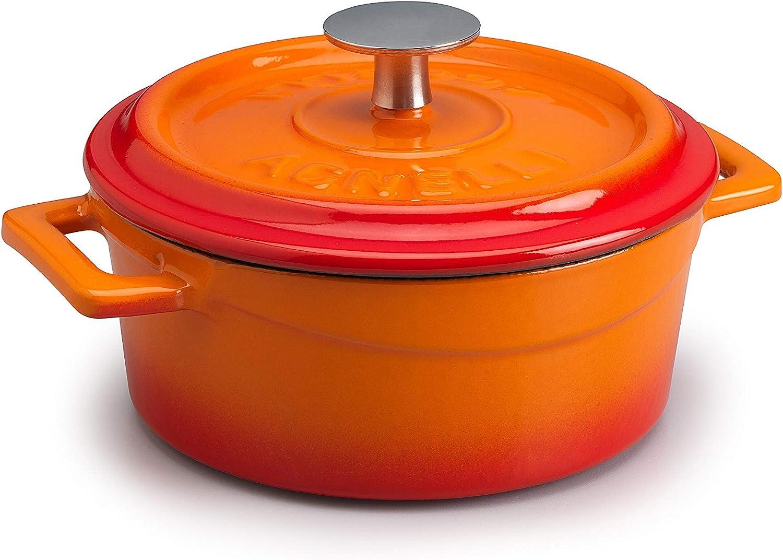 Pentole Agnelli COGHSRP10410O Cacerola Slowcook con asas y tapa, hierro fundido, naranja, 0.36 L