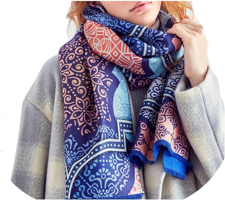 Women Scarf Wool Warm Scarves Fashion Classic Pattern Print Shawl Luxury Thicken