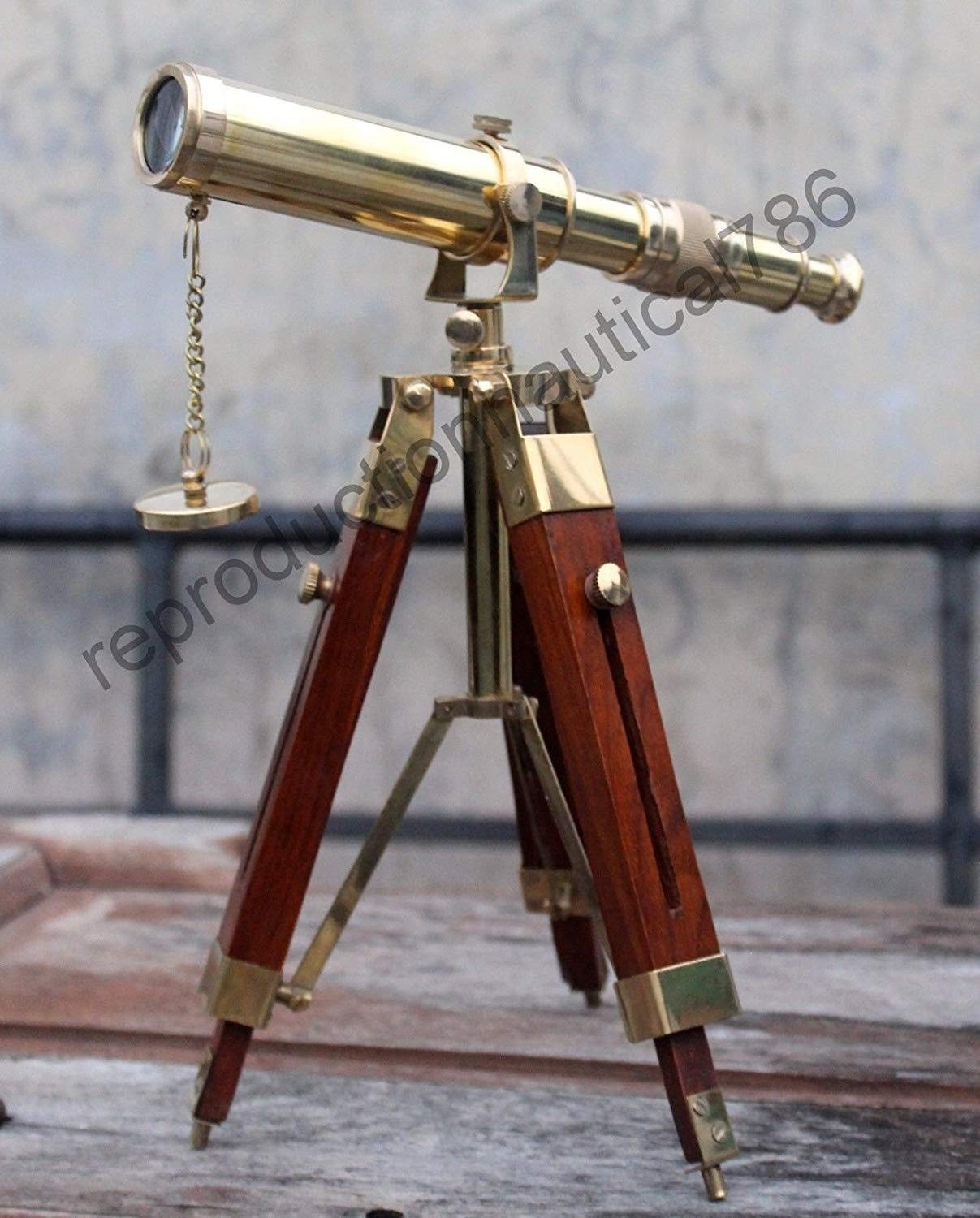 Arsh Nautical Antique Royal Navy Brass Nautical Gold Telescope with Adjustable Wood Tripod Stand