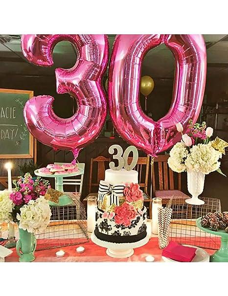ZLJTT 2 Piezas Happy 30 Birthday Foil Balloons Rosa Azul Oro ...
