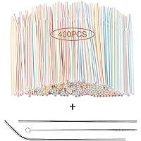 400 stycken flexibla sugrör i plast 20 cm långa flerfärgade randiga böjbara sugrör + ett par sugrör i rostfritt stål