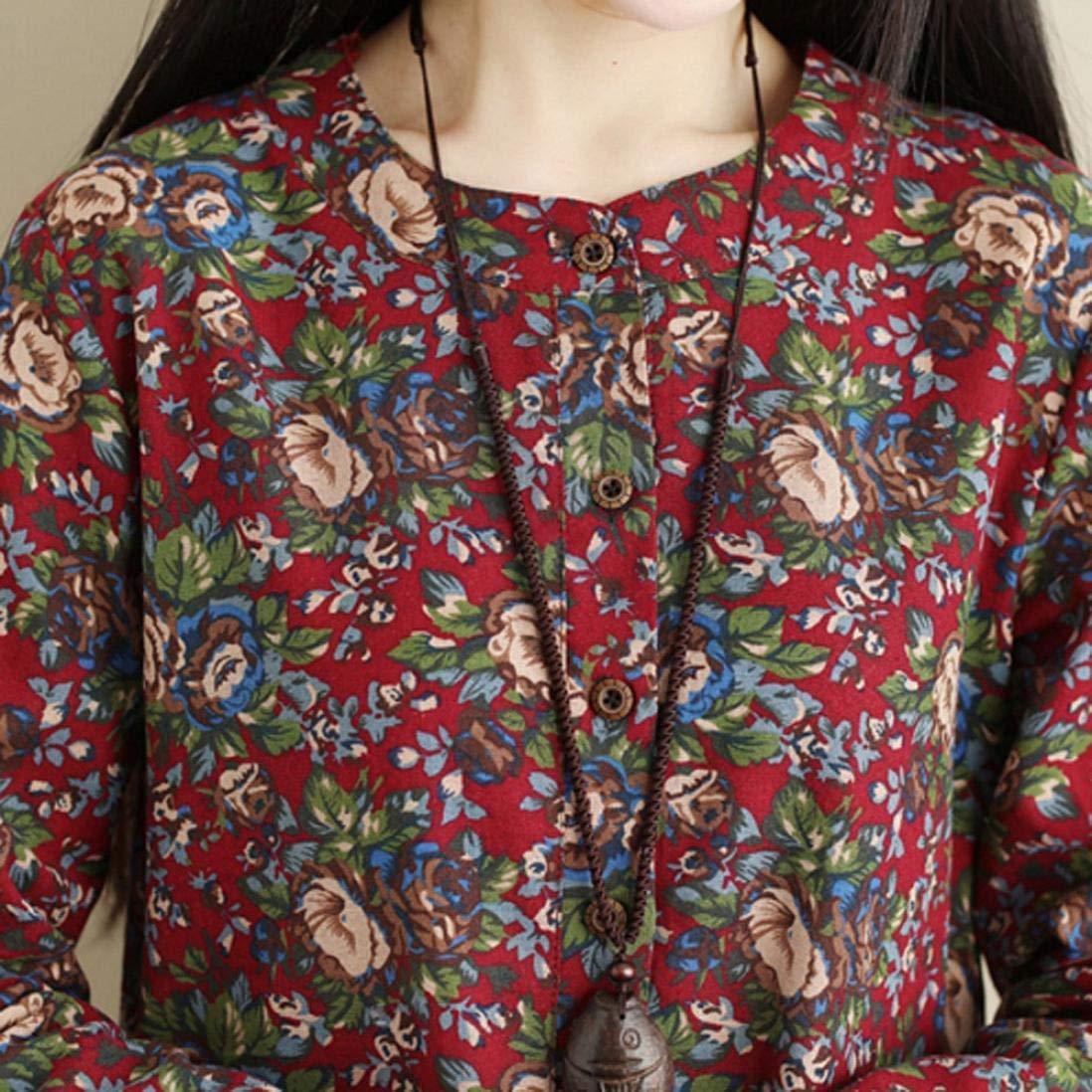 FuweiEncore Vestido de Bolsillo con Estampado Floral de Manga Larga Retro de Lino de algodón para Mujer (Color : Wine, tamaño : XX-Large): Amazon.es: Hogar